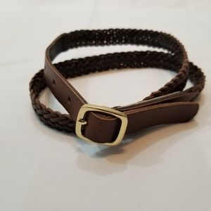 Ann Taylor Brown Leather Braided Belt